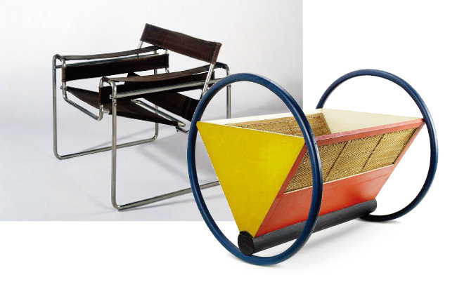 바우하우스의 바실리 의자(왼쪽)와 바우하우스 유아요람. [바우하우스 아카이브]