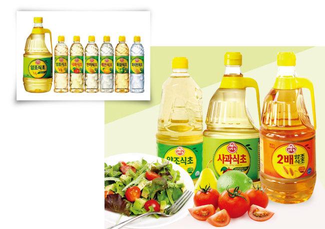 오뚜기는 식초 소재와 농도를 달리해 여러 가지 상품을 판매하고 있다. [사진 제공 · ㈜오뚜기]