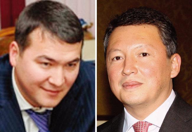 사마트 아미쉬 카자흐스탄 국가안보회의 부의장(왼쪽)과 나자르바예프의 둘째 사위 티무르 쿨리바예프. [Tengrinews, 위키피디아]