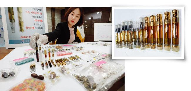 인천세관이 압수한 다양한 종류의 대마초(왼쪽)와 대마초의 마약 성분을 농축해 만든 해시시. 전자담배 카트리지 형식으로 유통된다. [동아DB]