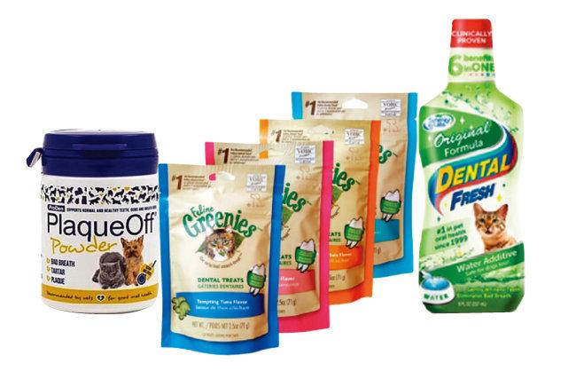 플라그 오프 제품과 고양이 덴틀 껌, 사료. 물에 타 먹이는 고양이 구강 관리 제품도 도움이 된다. [플라그오프, 그리니스, 덴탈프레쉬 홈페이지]