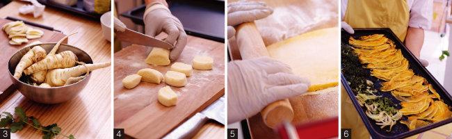 3 설탕당근으로 불리는 파스닙. 4 감자와 세몰리나 가루로 반죽해 만드는 뇨키. 5 카넬로니 반죽을 만들고 있다. 6 카넬로니 속을 채울 늙은 호박과 펜넬을 오븐에 구웠다. [사진 제공·김민경]
