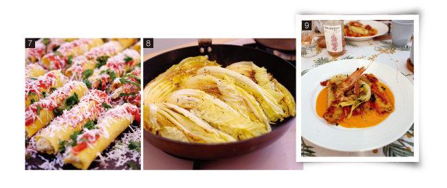 7 프레시 파스타에 늙은 호박과 펜넬로 속을 채워 넣고 카넬로니를 만드는 과정. 8 노란 알배추로 색다른 구이를 만든다. 9 호박으로 속을 채운 카넬로니. [사진 제공·김민경]
