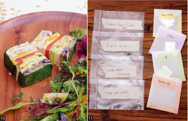 10 계절 샐러드와 함께 플레이팅한 채소 테린. 11 '로컬릿'에서는 텃밭도 가꿀 예정이다. [사진 제공·김민경]