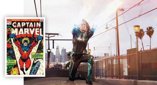 1973년 출간된 마블코믹스의 '캡틴 마블' 표지(왼쪽)와 영화 '캡틴 마블'. 남자에서 여자로 바뀌었다. [위키피디아, 월트 디즈니 컴퍼니 코리아]