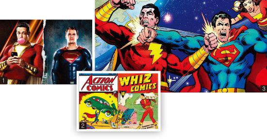 1 영화 '샤잠!'과 '슈퍼맨' 주인공 포스터. 2 '슈퍼맨'과 샤잠이 '캡틴 마블'이던 시절의 표지. 3 '슈퍼맨 대 샤잠!' 2013년 2월호 표지 이미지. [사진 제공 · 워너브라더스코리아, 위키피디아, DC코믹스]