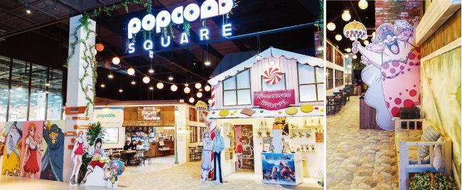 팝콘D스퀘어의 '원피스' 팝업스토어. (왼쪽) '홀케이크 아일랜드' 편에 나오는 샬롯 링링.