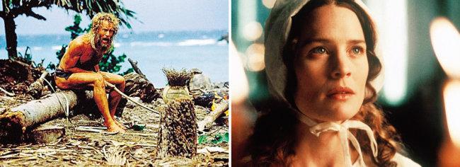 영화 '캐스트 어웨이'(2000)에서 현대적 로빈슨 크루소로 분한 톰 행크스(왼쪽). 대니얼 디포의 원작소설을 영화화한 '몰 플랜더스'(1996)의 주인공 로빈 라이트. [CJ엔터테인먼트, IMDB]