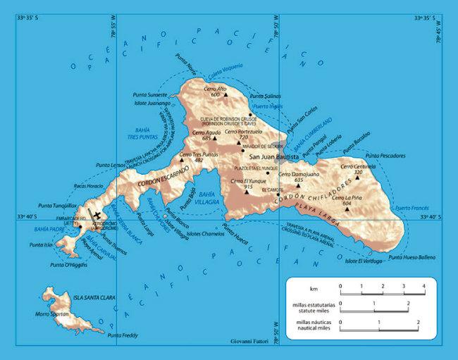로빈슨 크루소 섬(서태평양 후안 페르난데스 제도의 마사 티에라 섬). [위키피디아]