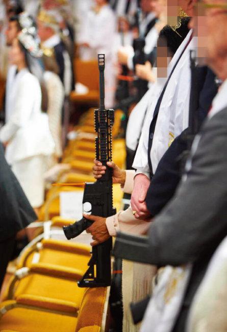 7남 문형진 씨가 2018년 2월 미국에서 진행한 총기 축복결혼식.
