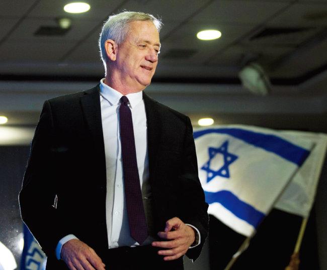 중도연합 '블루 앤드 화이트'를  이끄는 베니 간츠 전 이스라엘군 참모총장. [AP=뉴시스]