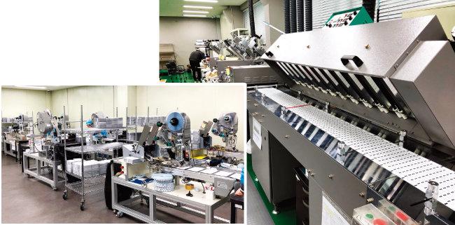 특수보안라벨을 인쇄하는 NBST의 실크인쇄기계(오른쪽)와 라벨을 제품에 부착하는 장치.