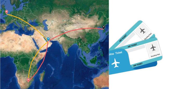 총 120만 원 2장의 항공권 : 에티하드 서울-런던-아부다비-요하네스버그-아부다비-서울 여정.