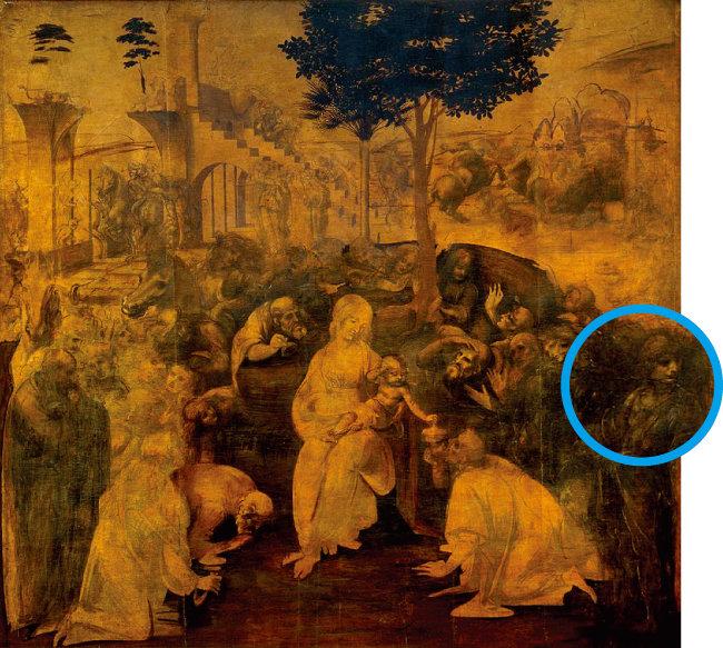 레오나르도가 26세 때 의뢰받은 미완성작 '동방박사의 경배'에서 오른쪽 끝의 고개 돌린 청년이 레오나르도의 자화상으로 추정된다. [위키피디아]