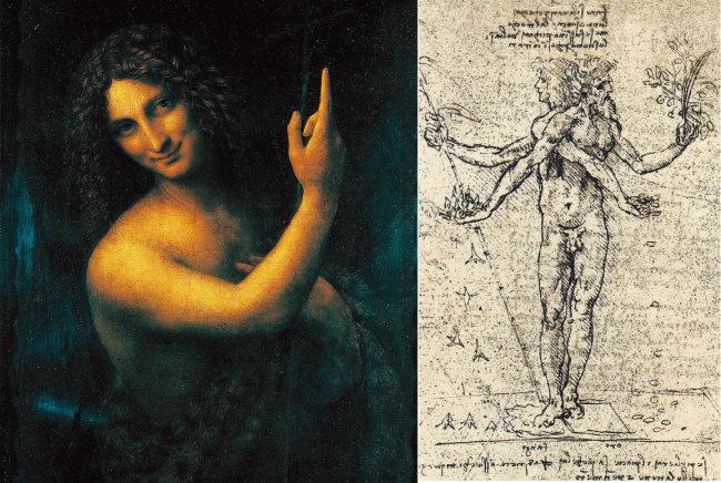 살라이를 모델로 했을 것으로 추정되는 '성 세례 요한'(왼쪽)과 레오나르도의 노트 속 우의화 '쾌락과 고통'. [사진 제공 · ㈜북이십일 아르테]