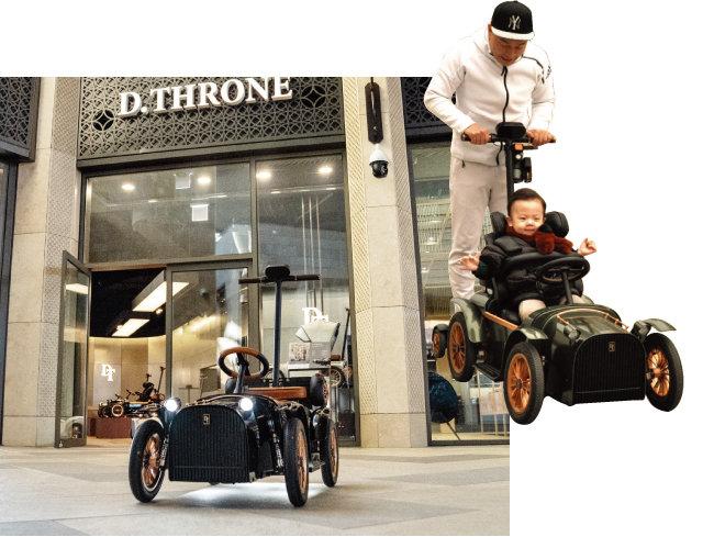 인천 영종도 파라다이스시티 디트로네 쇼룸(왼쪽)과 디트로네 전동차를 타는 아빠와 아이. [사진 제공 · 디트로네]