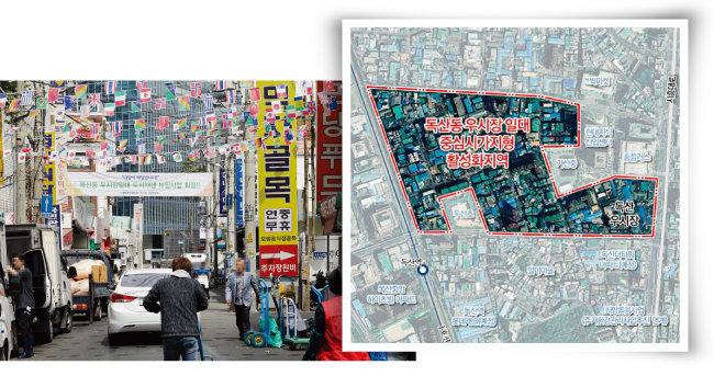 4월 8일 정부가 2019년 상반기 도시재생 뉴딜사업 22곳을 선정했다. 서울시에서는 최초이자 유일하게 금천구 독산동 우시장이 선정됐다(왼쪽). 도시재생 뉴딜사업 독산동 우시장 일대. [박해윤 기자, 서울시 도시재생포털]