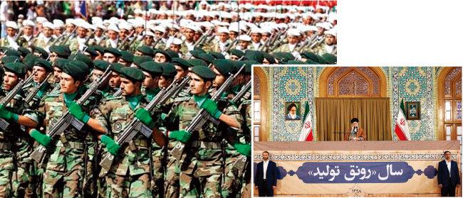 미국 정부가 외국 테러조직으로 규정한 이란 혁명수비대(왼쪽). 이란 국가최고지도자 아야톨라 하메네이가 연설을 통해 미국을 비판하고 있다. [Tasnimnews, Khamenei.ir]