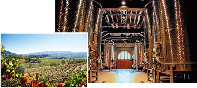 샤토 몬텔레나의 와인 양조실(오른쪽)과 포도밭 전경. [사진 제공 · ㈜나라셀라]
