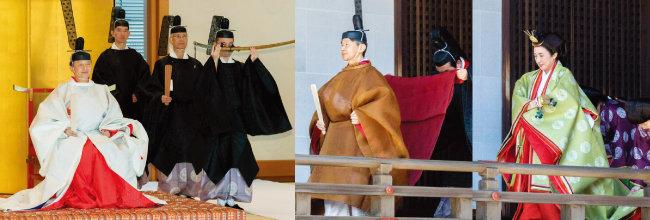 전통의상을 입은 나루히토 일왕이 5월 8일 일본 도쿄 고쿄의 옛 일왕들 묘 앞에서 즉위를 고하는 의식을 치르고 있다(왼쪽). 이날 고쿄의 규츄산덴(宮中三殿)에 즉위를 고하러 가는  나루히토 일왕과 마사코 왕비. [AP=뉴시스]