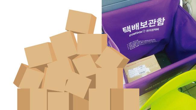 서울 서대문구 한 CU 편의점에 설치된 택배보관함. 보관함 안에 택배가 들어 있다. [정보라 기자]
