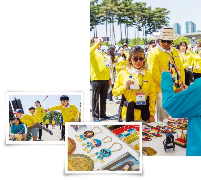 평화광장 한켠에 마련된 '걸어서 세계로(Walk to the World)' 코너는 한국을 포함해 세계 8개국 전통문화 체험 부스가 마련돼 많은 인기를 끌었다. [김도균]