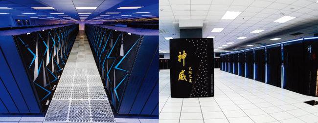 세계 2위 슈퍼컴퓨터인 미국 시에라. (왼쪽) 세계 3위 슈퍼컴퓨터인 중국 선웨이 타이후라이트. [로렌스 리버모어 국립연구소, china.org.cn]