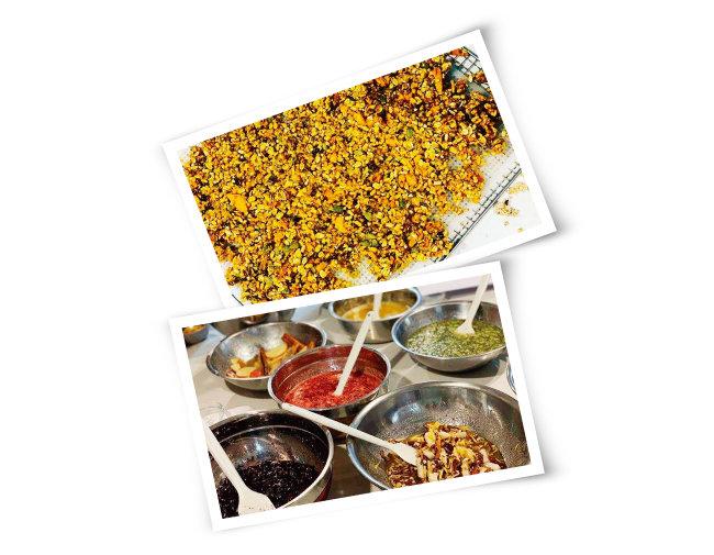 로푸드 식재료로 만든 그래놀라(위)와 영양, 효소를 살려 만드는 다양한 로푸드 수제청. [사진 제공·로푸드팜]