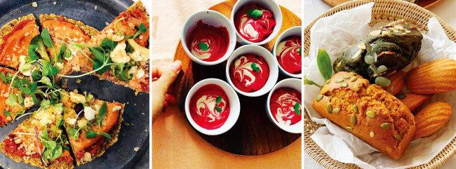 로푸드피자, 비트크림수프, 비건베이킹(왼쪽부터). 로푸드 요리는 자연의 색과 맛이 살아 있다. [사진 제공·로푸드팜]
