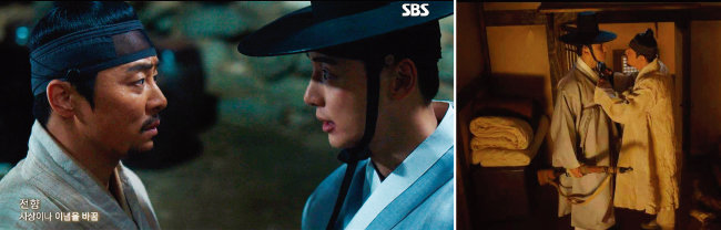 SBS 드라마 '녹두꽃'에서 백이현(윤시윤 분)이 백이강(조정석 분)에게 전향을 요구해 형제가 갈등하는 장면. [SBS 방송 화면 캡처]