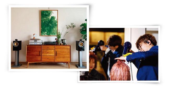 '오픈갤러리'는 3개월마다 원화를 교체해주는 그림 구독 서비스를 제공한다(왼쪽). 월정액제 미용실 '월간헤어'의 김정수 대표원장이 미용실 '구독자'에게 미용 서비스를 제공하고 있다. [사진 제공 · 오픈갤러리  ⓒ시원상]