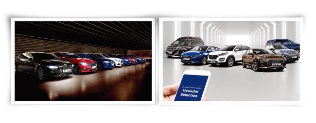 현대자동차가 시범 서비스 중인 자동차 구독 서비스 '제네시스 스펙트럼'(왼쪽)과 '현대셀렉션'. [사진 제공 · 현대자동차]