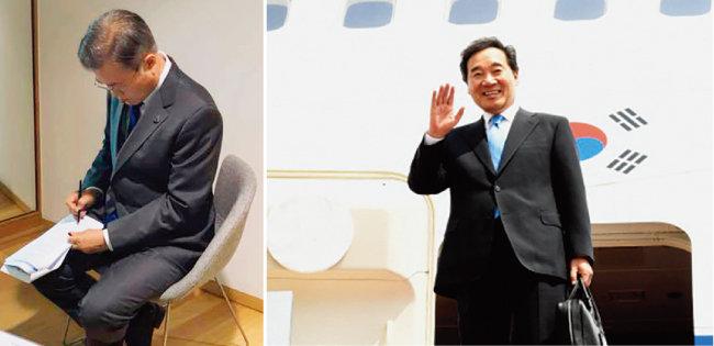 지난해 10월 벨기에 브뤼셀에서 열린 ASEM(아시아·유럽정상회의)에서 문재인 대통령은 대기실에서 연설문을 수정하다 단체사진 촬영을 하지 못했다. (왼쪽) 5월 6일 대통령 전용기 공군1호기를 타고 콜롬비아를 방문한 이낙연 국무총리. 일본 오사카에서 열리는 G20 정상회의에도 그가 참석할 가능성이 있다. [사진 제공 ·청와대, 사진 제공 ·국무조정실, 국무총리비서]