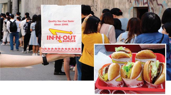 5월 22일 오전 인앤아웃 버거 팝업 행사장 주변에서 시민들이 햄버거를 사기 위해 길게 줄을 서고 있다(아래). 인앤아웃은 신선한 냉장패티만 사용하는 것으로 유명하다. [뉴스1, 위키피디아]