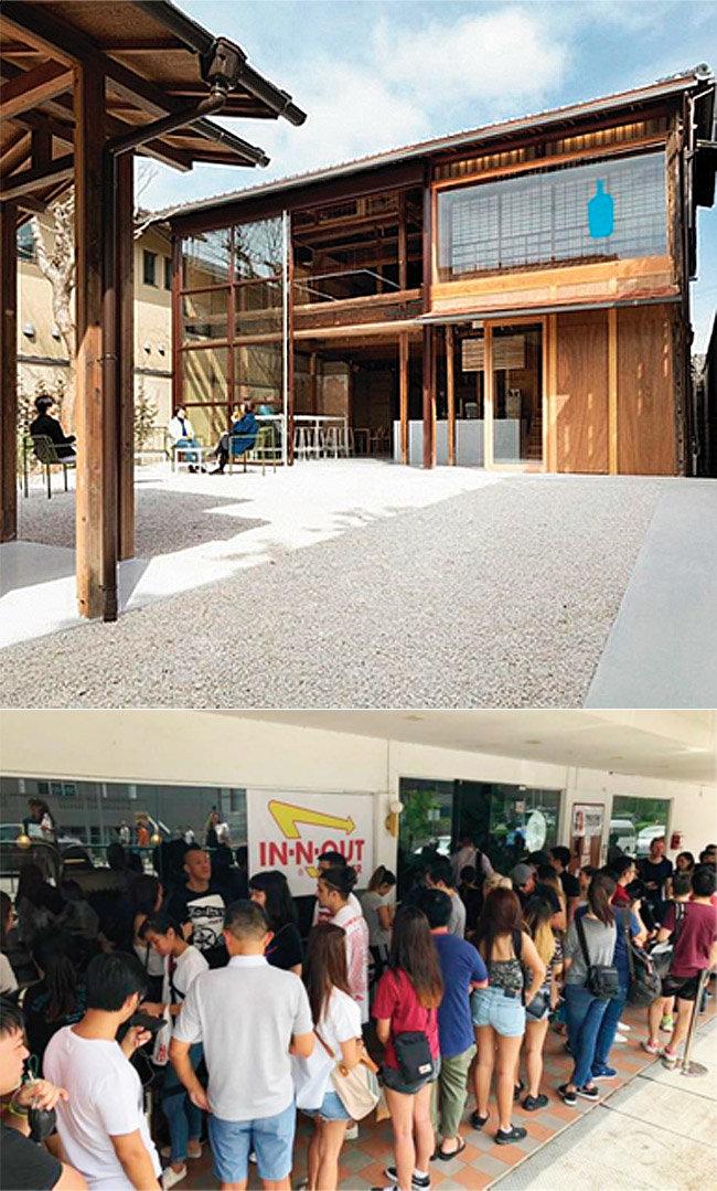 일본 교토의 블루보틀 매장은 일본 건축미를 잘 살렸다는 평가를 받는다. 인앤아웃은 전 세계 주요 도시를 돌며 팝업 행사를 연다. 사진은 5월 6일 싱가포르에서 열린 행사 모습(아래). [인스타그램 @bluebottlejapan, DESIREE LOH-The StraitsTimes]