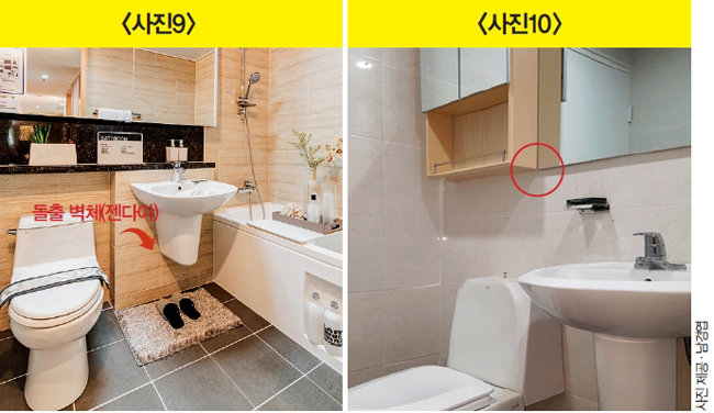 세면기 뒤에 돌출 벽체(젠다이)가 있는 경우(왼쪽)와 없는 경우의 욕실장. [사진 제공 · 남경엽]