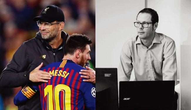 챔피언스리그 4강전에서 FC 바르셀로나를 꺾은 뒤 리오넬 메시를 껴안고 있는 위르겐 클롭 감독(왼쪽)과 리버풀FC 연구소장 이언 그레엄. [AP=뉴시스, NYT]