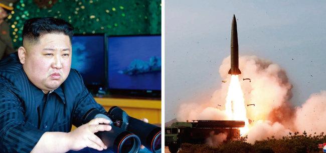 김정은 북한 국무위원장이 5월 4일 망원경을 들고 동해상으로 발사한, '북한판 이스칸데르'인 단거리 탄도미사일을 보고 있는 모습(왼쪽)과 미사일 발사 장면이 '노동신문' 등을 통해  5일 공개됐다. [노동신문]
