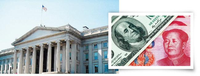 중국의 환율조작을 감시하는 미국 재무부 건물.  미국 달러화(왼쪽)와 중국 위안화. [위키피디아, dreamstime.com]