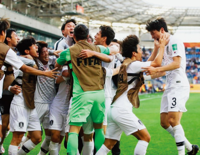 U-20 월드컵 대표팀이 6월 5일 일본을 꺾고 8강행 티켓을 쥐었다. [사진 제공 · 대한축구협회]