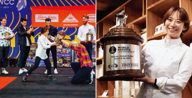 4월 14일(현지시각) 미국 보스턴에서 열린 '월드바리스타 챔피언십'에서 우승한 전주연 씨에게 지난 대회 우승자 아그니에슈카 로예프스카가 익살스럽게 트로피를 전달하고 있다(왼쪽). 전주연 씨가 자신이 근무하는 '모모스커피' 매장에서 우승 트로피를 들어 보이고 있다. [사진 제공 · 전주연, 박해윤 기자]