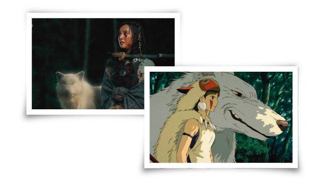여주인공 탄야(김지원 분) 주변에 '흰늑대할머니'의 환영이 어른거리는 장면(왼쪽)은 일본 애니메이션 '원령공주'를 연상케 한다. [사진 제공 · tvN, 사진 제공 ·스튜디오 지브리]