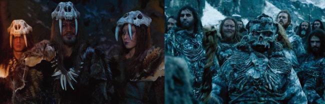 '아스달 연대기'의 '뇌안탈'(왼쪽)은 유럽에서 3만 년 전 멸종된 네안데르탈인을 연상케 한다. '왕좌의 게임'의 야인(와이들링)처럼 해골바가지를 뒤집어쓰고 있다. [사진 제공 · tvN, 사진 제공 · HBO]