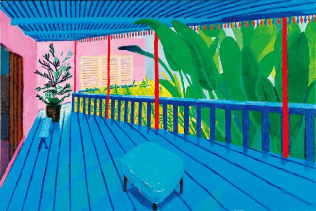 데이비드 호크니, '블루 테라스 정원', 캔버스에 아크릴, 2015 [ⓒ David Hockney, Photo Credit: Richard Schmidt]