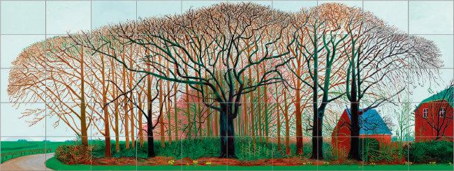 데이비드 호크니, '와터 근처의 더 큰 나무들', 2007, 50개의 캔버스에 유채. [ⓒDavid Hockney, Collection Tate, U.K. ⓒTate, London 2019]