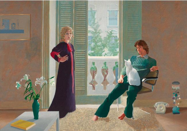 데이비드 호크니, '클라크 부부와 퍼시', 1970~71, 캔버스에 아크릴. [ⓒDavid Hockney, Collection Tate, U.K. ⓒTate, London 2019]