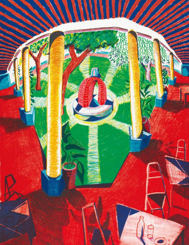 데이비드 호크니, '호텔 우물의 경관 Ⅲ', 1984~85, 석판화 어디션 80. [ⓒDavid Hockney/Tyler Graphics Ltd., Photo Credit : Richard Schmidt]
