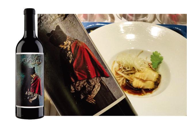 팔레르모 와인과 간장전복 요리. 팔레르모의 복합미는 간장향이 나는 요리와도 잘 어울린다. [사진 제공 · 오린 스위프트]