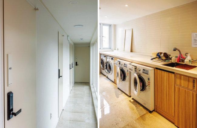층마다 탕비실과 세탁기, 건조기가 마련돼 있다. [김도균]