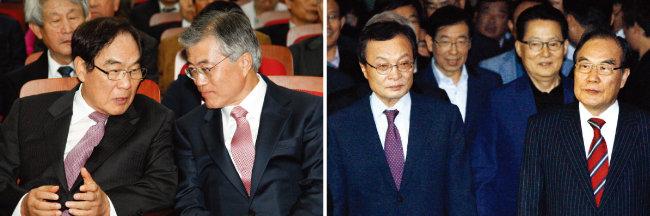 2012년 대선 당시 문재인 후보(오른쪽)와 대화를 나누고 있는 임채정 한국기원 총재. 문 대통령은 아마 3단 실력으로 알려져 있다(왼쪽). 임채정 총재는 더불어민주당 이해찬 대표와 가장 많이 바둑을 뒀다고 했다. [동아DB]